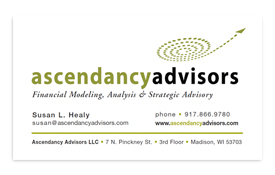 Acendancy Advisors business card.