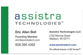 Assistra Technologies business card.
