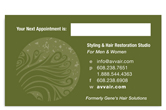 Avvair Styling and Hair Restoration business card back.