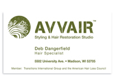 Avvair Styling and Hair Restoration business card front.