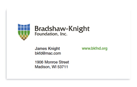 Bradshaw-Knight Foundation business card.