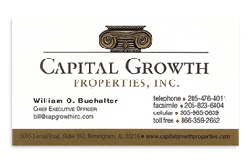 Capital Growth Properties business card.