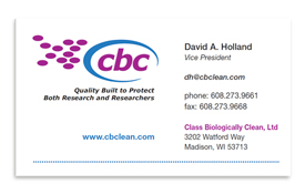Class Biologically Clean business card.