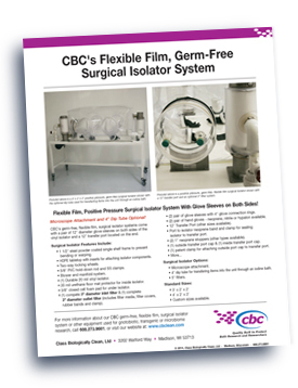 Class Biologically Clean, Ltd. (CBC) Surgical Germ-Free Isolator flyer.