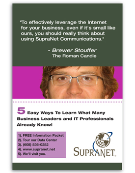 Supranet Communications Business  direct mailer - Brewer Stouffer, The Roman Candle.