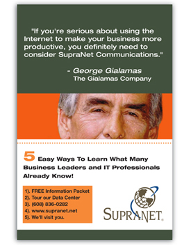 Supranet Communications  direct mailer - George Gialamas, The Gialamas Company.