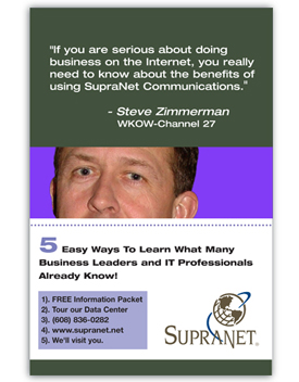 Supranet Communications  direct mailer - Steve Zimmerman, WKOW.