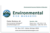 Environmental Risk Managers business card front.