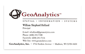 GeoAnalytics business card.