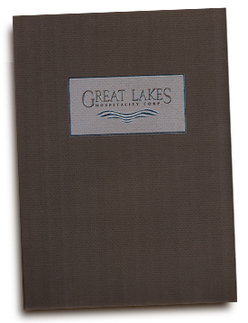 Great Lakes Hospitality corporate brochure & pocket folder for inserts.
