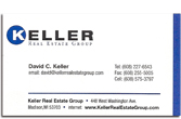 Keller Real Estate business card.