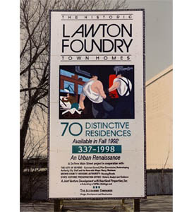 Lawton Foundry construction sign.