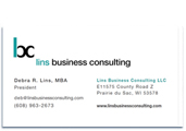 Lins Business Consultign business card.