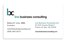 Lins Business Consulting business card.