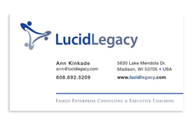 Lucid Legacy business card.