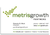 Metris Growth Partners business card.