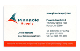 Pinnacle Supply business card.