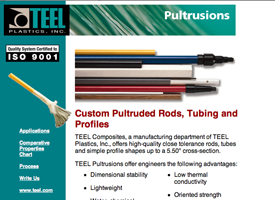 The original Teel Plastics Pultrusions website which is now inactive.