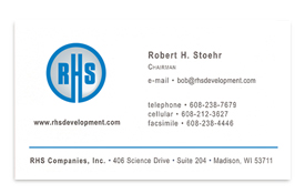 RHS Companies, Inc. business card.
