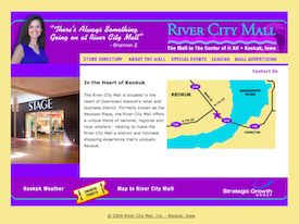 The River City Mall inactive website.