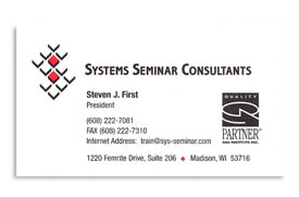 Systems Seminar Consultants, Inc. business card.