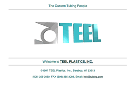 The original Teel Plastic website which is now inactive.