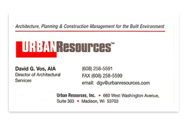 Urban Resources business card.