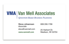 Van Mell Associates business card.
