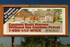 Wick Homes billboard cira 1990.