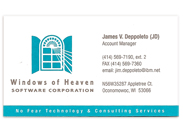 Windows of Heaven business card.
