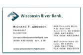 Wisconsin River Bank business card.